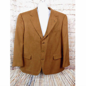 STAFFORD SUEDE SPORT COAT BROWN 48R ELEGANT